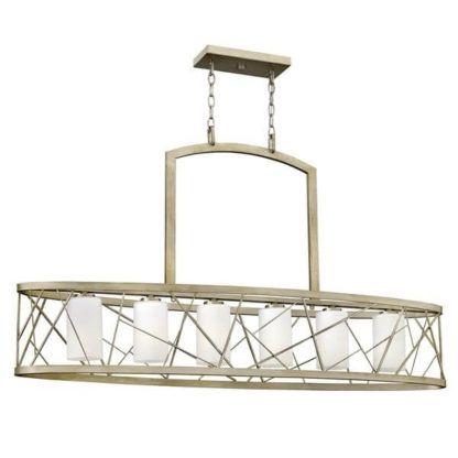 efektowna lampa wisząca, metalowy, ażurowy klosz wewnątrz tuby z mlecznego szkła
