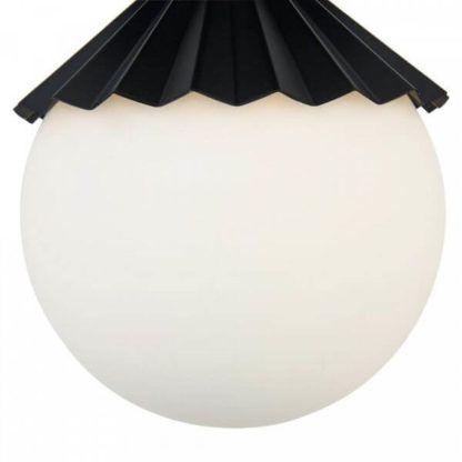 lampa wisząca ze szklanym kloszem i czarną kokardką z metalu