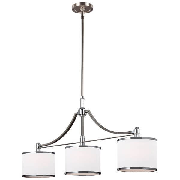 lampa wisząca z trzema białymi kloszami, srebrna