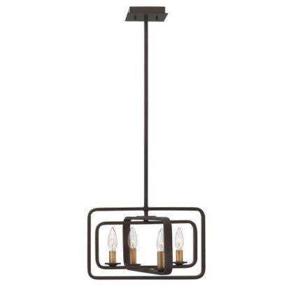 metalowa lampa wisząca, świecznik, brązowa, rustykalna