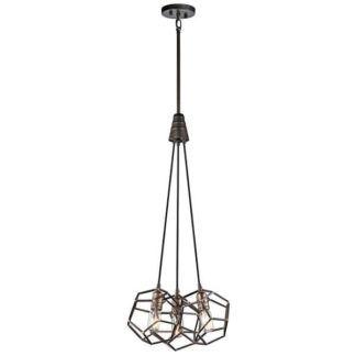 Industrialna lampa wisząca Rocklyn - Ardant Decor - geometryczne klosze