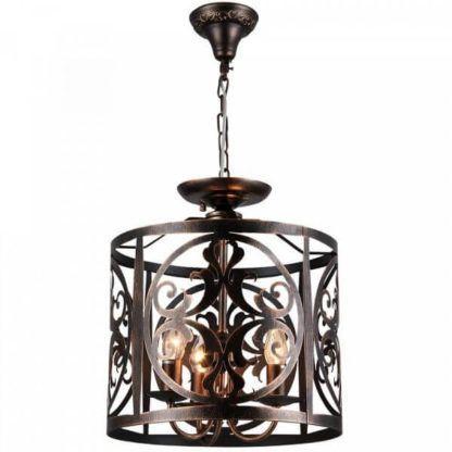 brązowa lampa wisząca z metalu, styl rustykalny