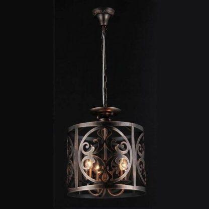 metalowa lampa wisząca w stylu rustykalnym, ażurowy klosz, brąz