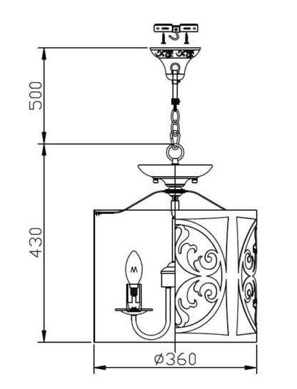 kremowa lampa wisząca z metalu, tradycyjne wzornictwo