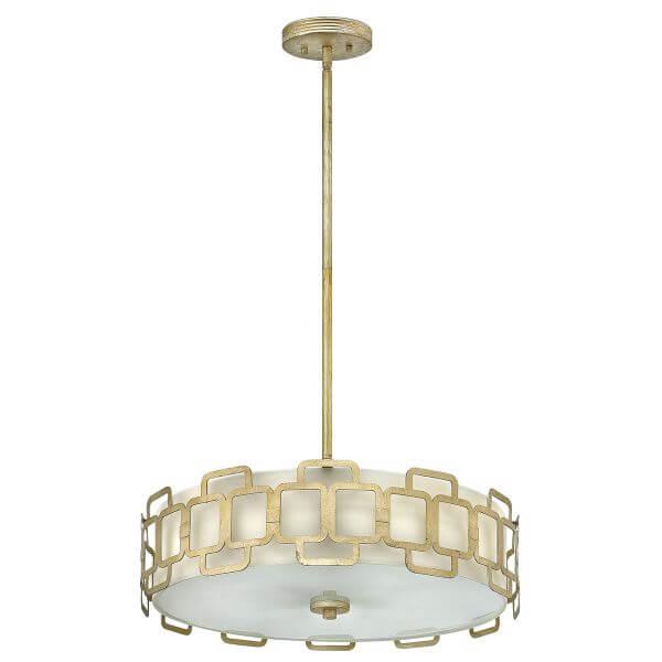 okrągła lampa wisząca z mlecznym dyfuzorem, złota, srebrna