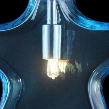szklana lampa wisząca niebieska gwiazdka