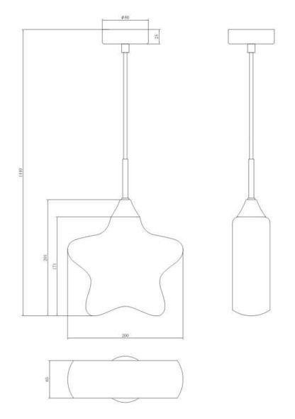 lampa wisząca szklana, niebieska, kształt gwiazdki