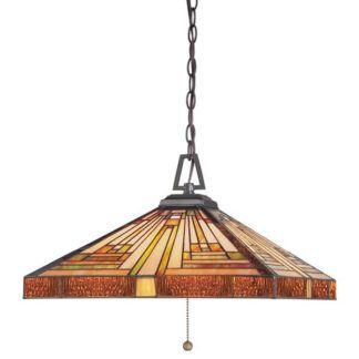 Witrażowa lampa wisząca Stephen – Ardant Decor - brązowe wykończenia