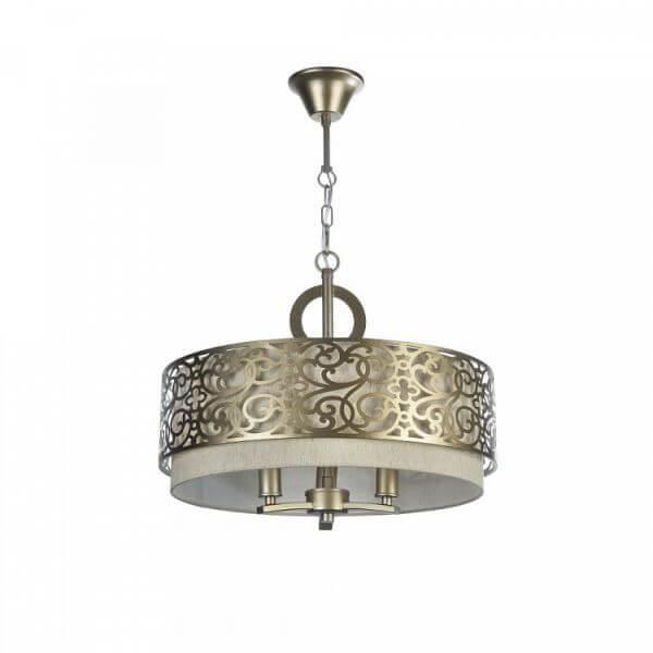 elegancka lampa wisząca, okrągła, złoto i beż