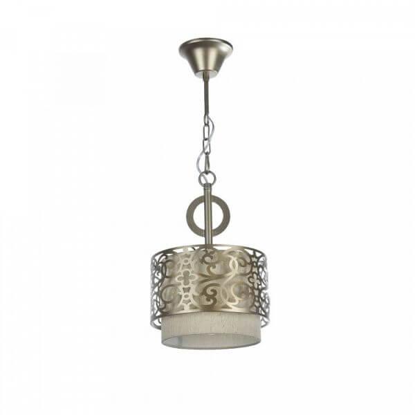 lampa wisząca okrągła z beżowym abażurem, klasyczna