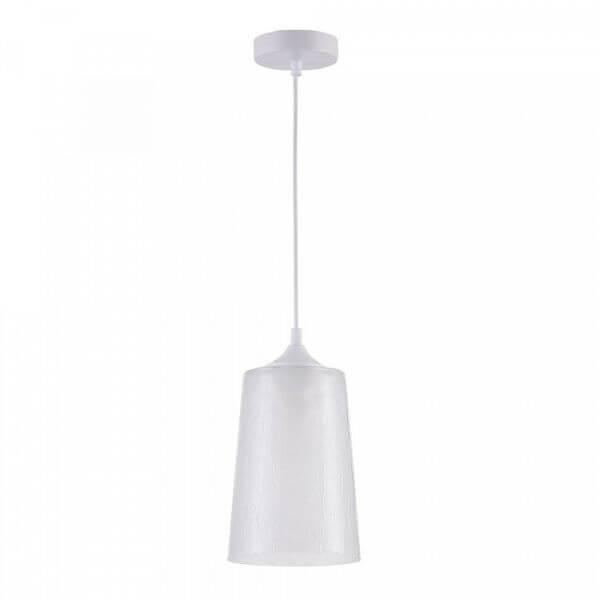 biała lampa wisząca ze szklanym kloszem z efektem kropli wody