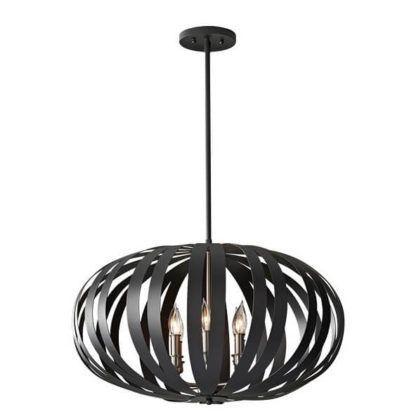 lampa wisząca kula z grubych, ciemnych pasów, rustykalna