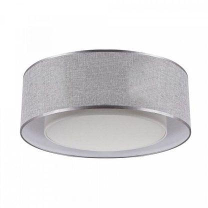 szara lampa sufitowa z materiałowym abażurem