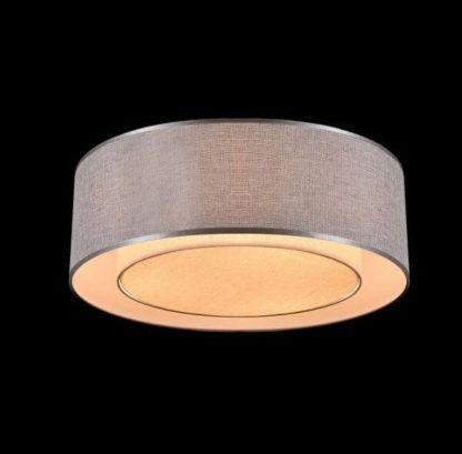 nowoczesna lampa sufitowa, szary abażur, srebrna lamówka