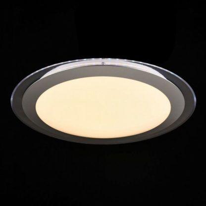 lampa sufitowa z okrągłym, mlecznym kloszem