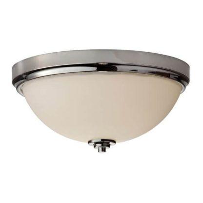 lampa sufitowa z mlecznym kloszem w srebrnej ramie