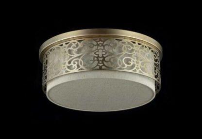 złota lampa sufitowa z beżowym abażurem, klasyczna