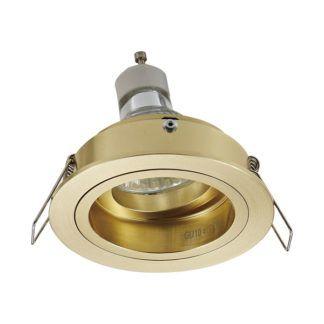 Złote oczko sufitowe Chuck Round - nowoczesne, regulowane