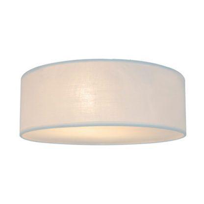 biała lampa sufitowa z jasnym, materiałowym abażurem