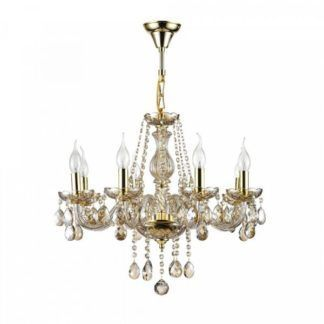 Elegancki żyrandol Brandy – złoty, bogato zdobiony