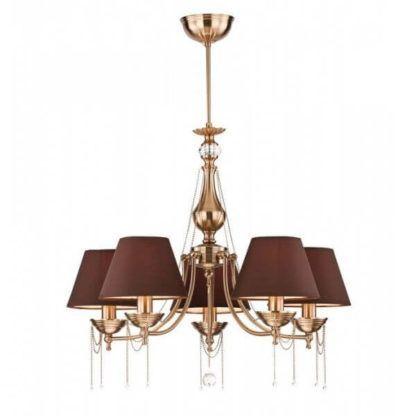 złoty żyrandol z brązowymi kloszami ozdobiony kryształkami i łańcuszkami