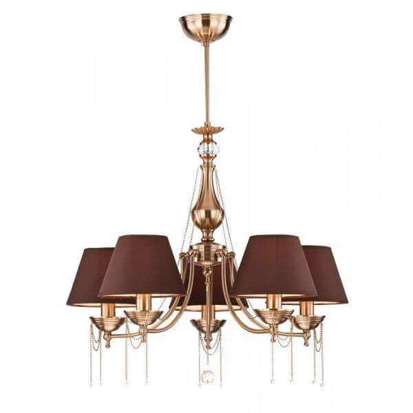złoty żyrandol z brązowymi kloszami, nowojorski styl, art deco, retro