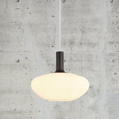 Owalna lampa wisząca Alton 35 - Nordlux - opalizujące szkło, czerń/złoto