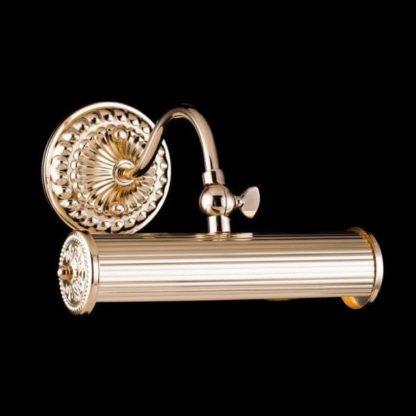 złoty kinkiet klasyczny, podłużny, antyczne zdobienia