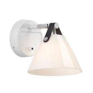 Skandynawski kinkiet Strap - Nordlux - DFTP - szklany klosz, biały