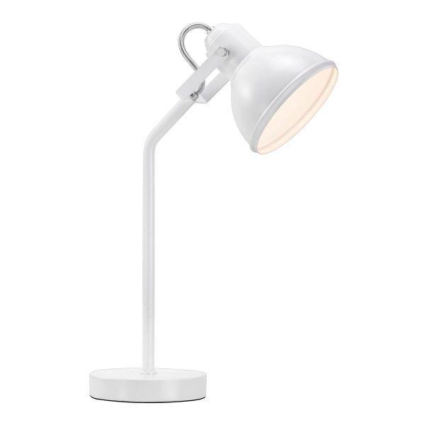 metalowa lampa biurkowa, cała biała - aranżacja