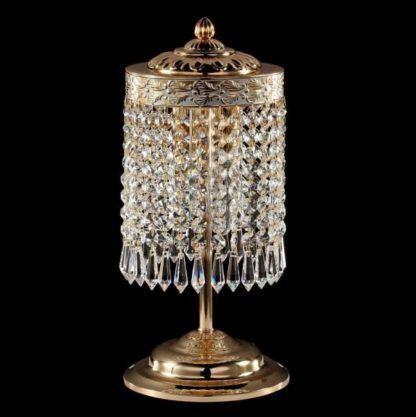 lampa stołowa art deco złota, z kryształkami