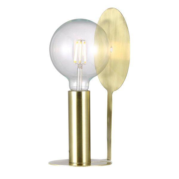 designerska lampa stołowa ze złotą blaszką odbijającą światło, nowoczesna