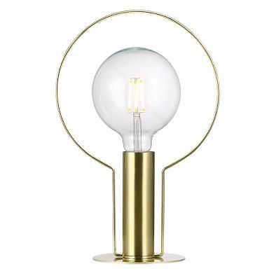designerska lampa stołowa złota, z aureolą