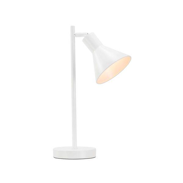 biała lampa biurkowa z regulowanym kloszem, styl nowoczesny, skandynawski