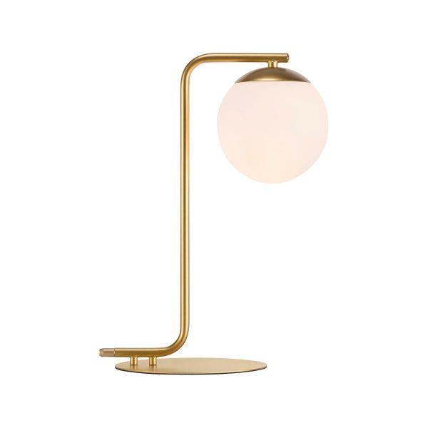 lampa stołowa ze złotą, industrialną podstawą, klosz szklana kula - aranżacja