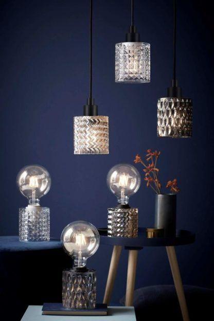 nowoczesne lampy ze szkła barwionego i fakturowanego