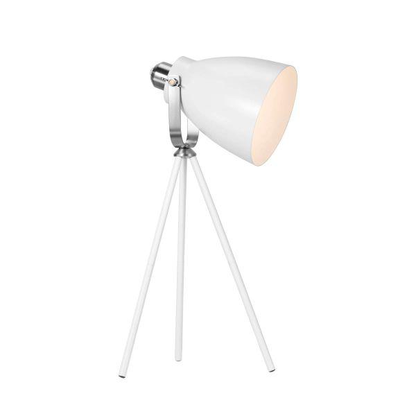 lampa stołowa trójnóg w stylu skandynawskim z reflektorem, biała - aranżacja