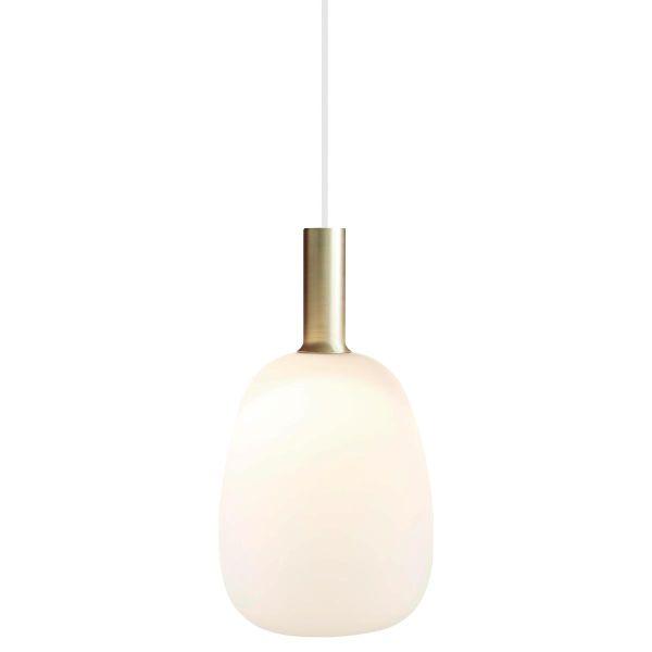 nowoczesna lampa wisząca, biała, szklana bańka