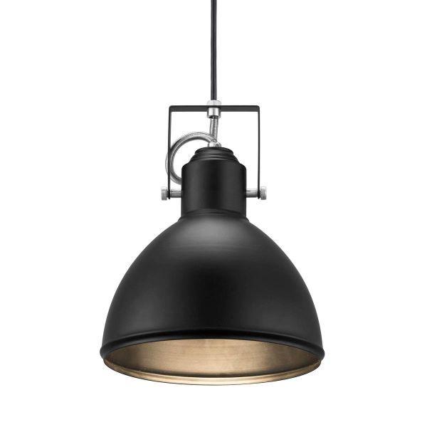 czarna lampa wisząca w stylu industrialnym, metalowy klosz, surowe wykończenie z metalu