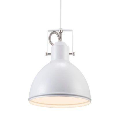metalowa, biała lampa wisząca w stylu industrialnym