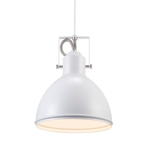 biała lampa wisząca z metalowym kloszem w stylu skandynawskim