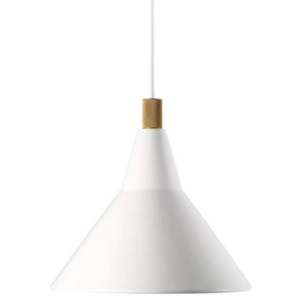 biała lampa wisząca w stylu nowoczesnym ze złotym detalem