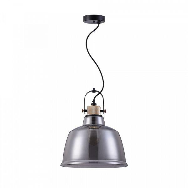 nowoczesna, szklana, industrialna lampa wisząca szara, złota
