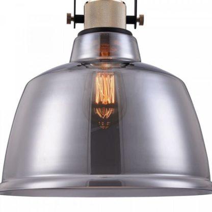 szklana, szara lampa wisząca, industrial