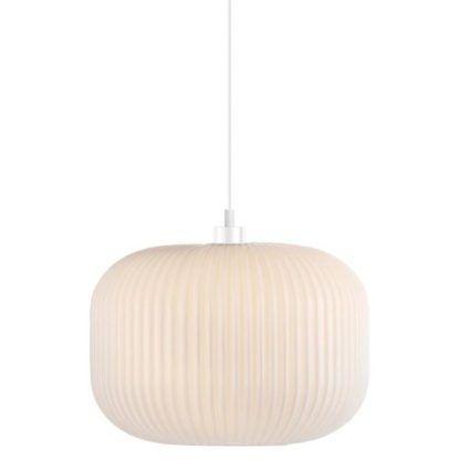 biała lampa wisząca ze szkła harmonijka, plisowany klosz