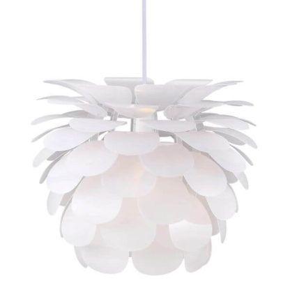 nowoczesna, biała lampa wisząca, klosz z płatków