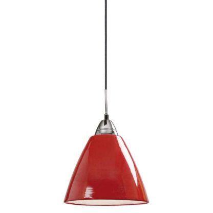 nowoczesna lampa wisząca, czerwony klosz lakierowany