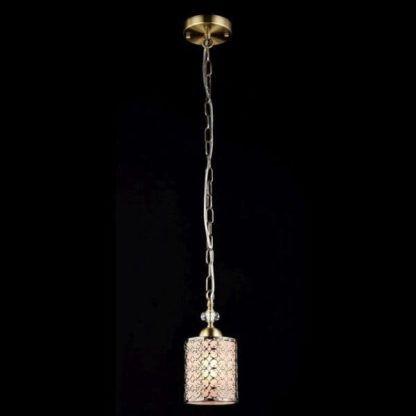 złota lampa wisząca z mlecznym kloszem, klasyczna