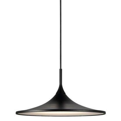 płaska lampa wisząca, czarna nad stół, nowoczesna, skandynawska