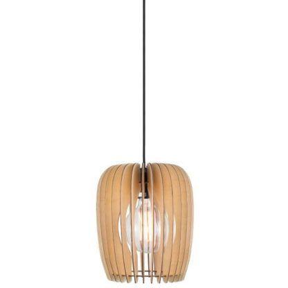 lampa wisząca z drewnianych listewek, brązowa, naturalna